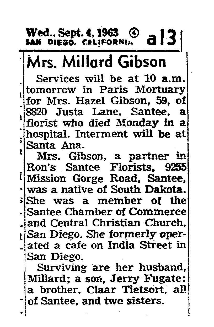 1963 Hazel Gibson obit