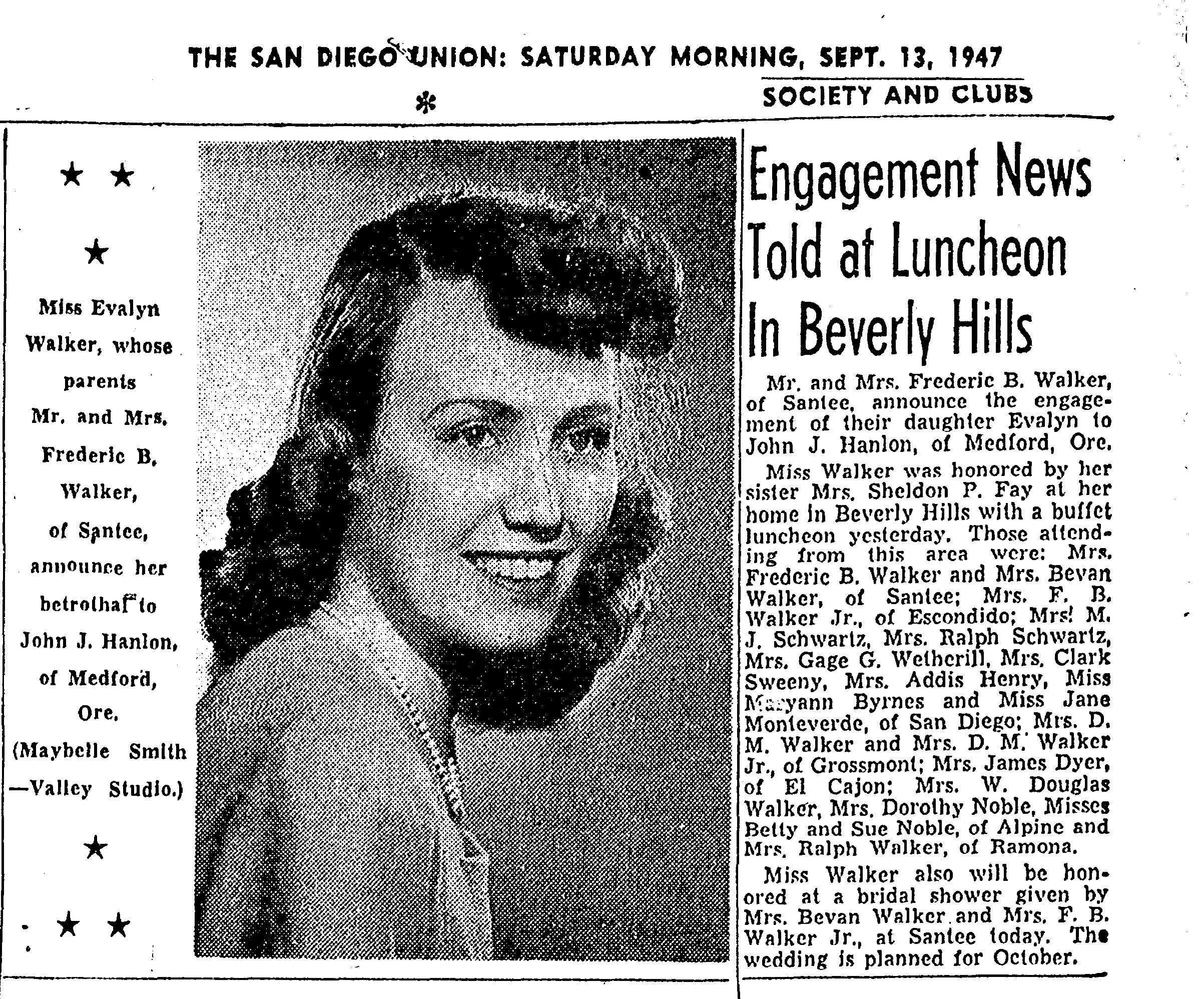 1947 Engagement  of Evelyn Walker